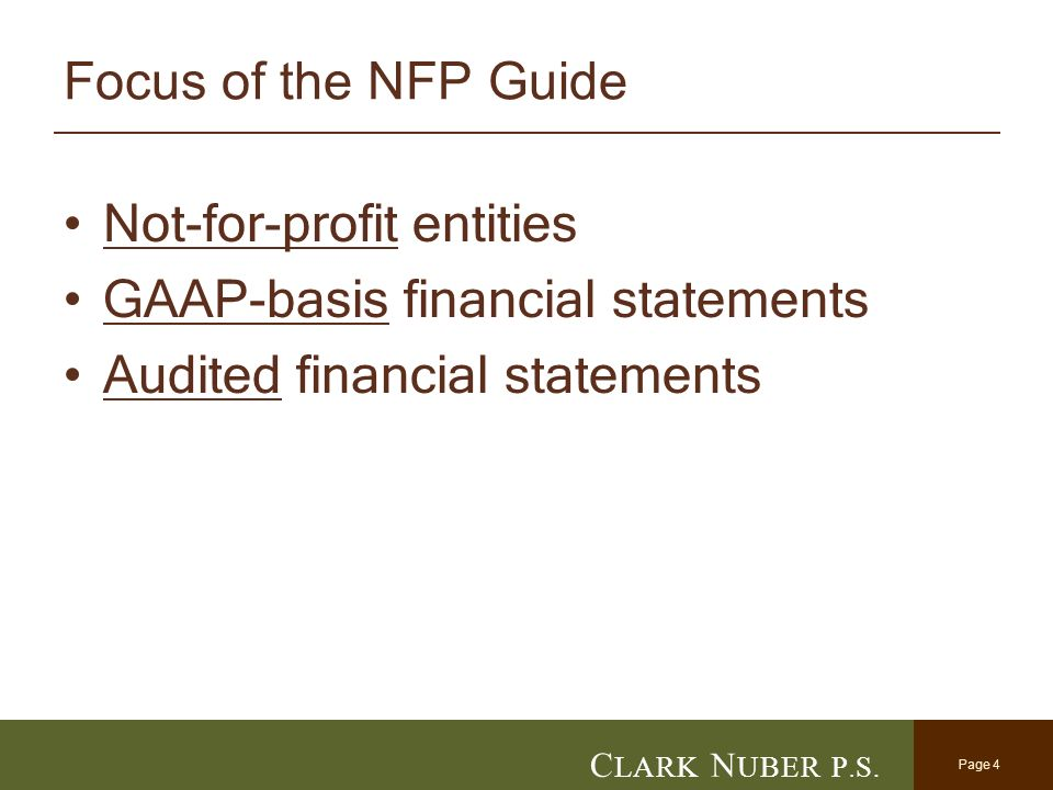 C lark n uber p. S. New nfp accounting guidance: the aicpa's new.