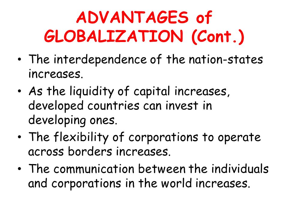 advantages of interdependence