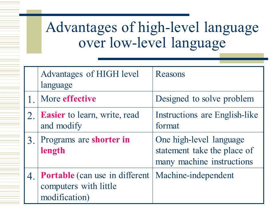 advantages of high level language over machine language