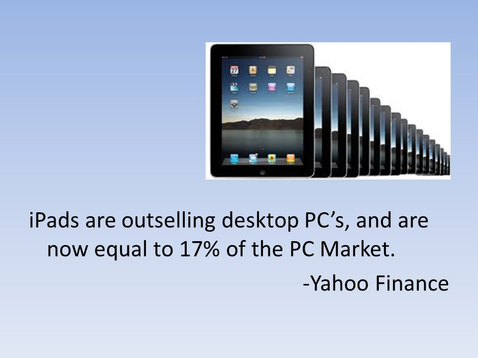 iPads are outselling desktop PC's, and are now equal to 17% of the PC Market. -Yahoo Finance