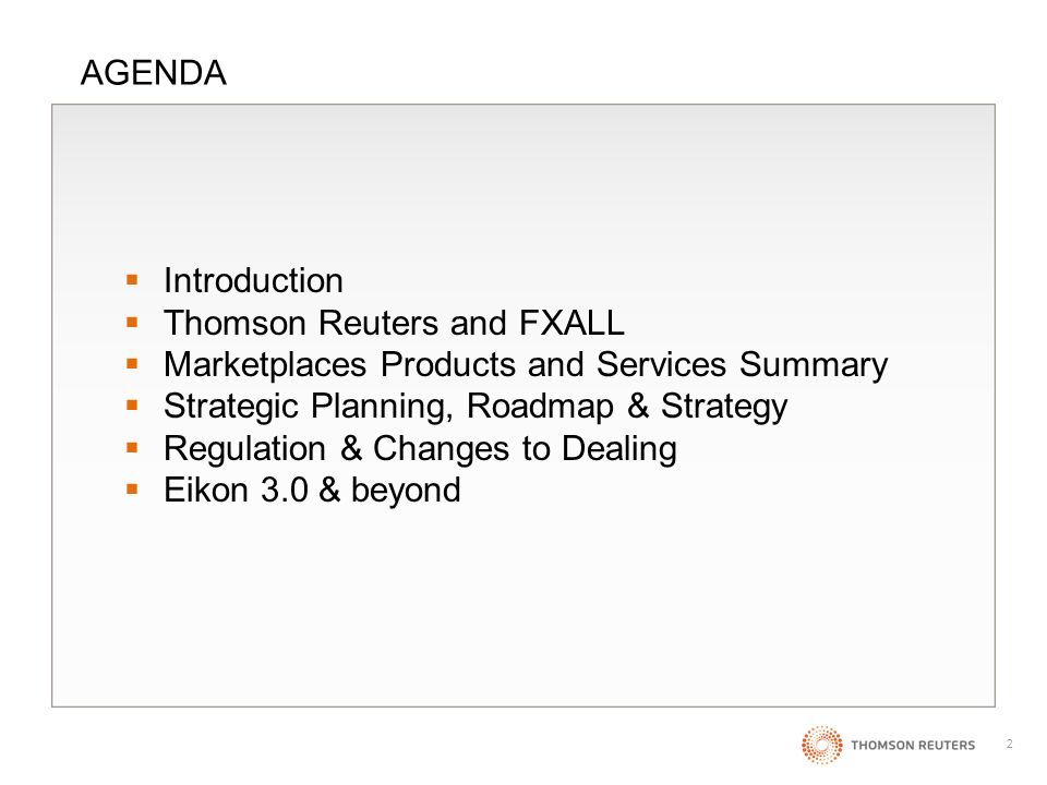 1 Thomson Reuters FX Marketplaces Strategy Update Erwin