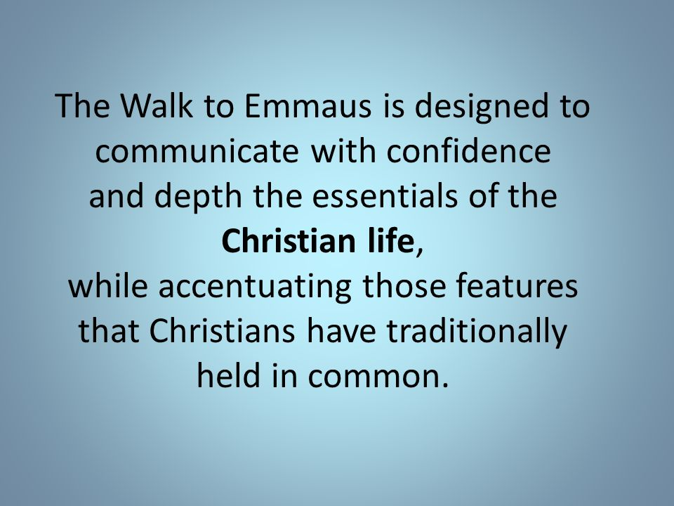 walk to emmaus manual talk outline