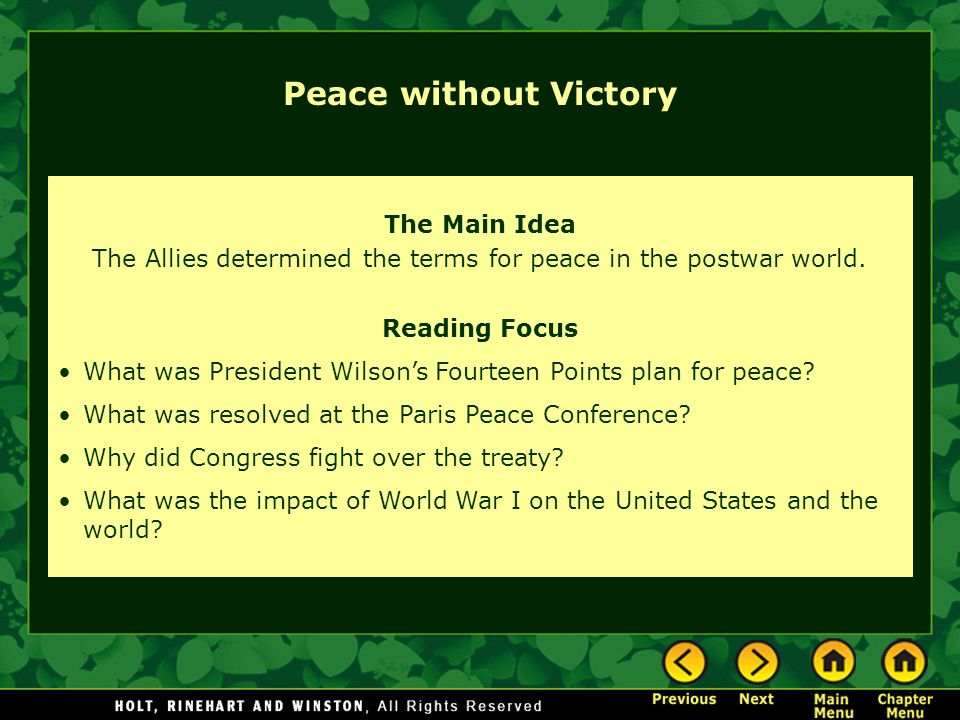 The Main Idea The Allies determined the terms for peace in the postwar world.