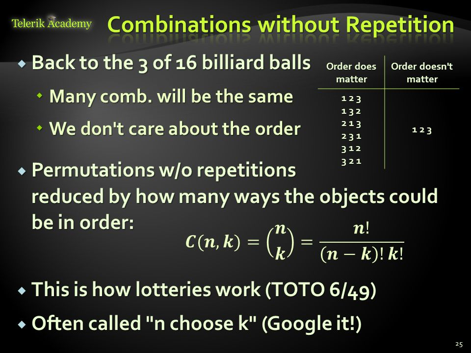 Brief Overview of Combinations, Permutations and Binary