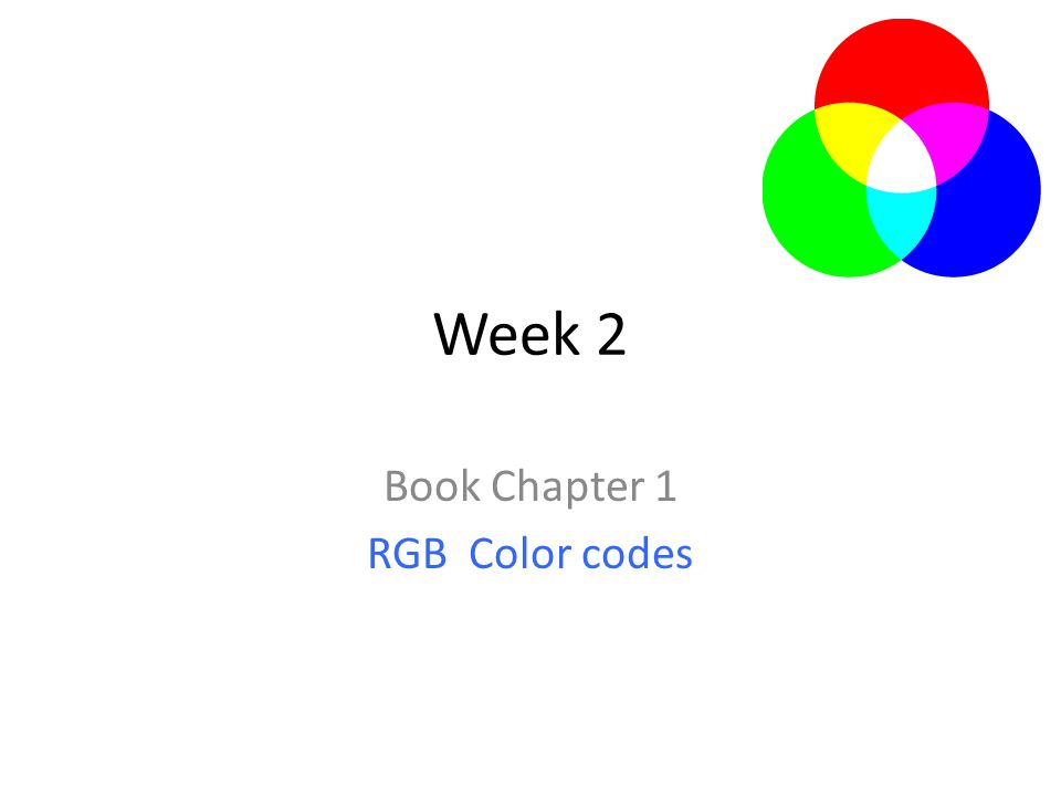 Week 2 Book Chapter 1 RGB Color codes. 2 2.Additive Color Mixing RGB ...