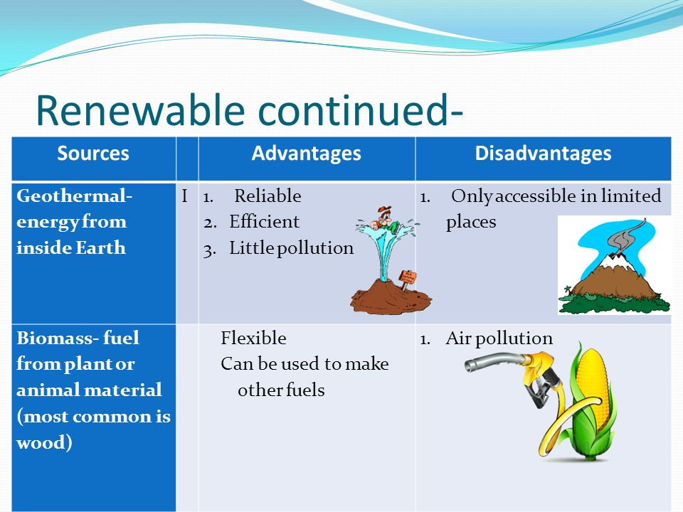 Renewable continued- SourcesAdvantagesDisadvantages Geothermal- energy from inside Earth I 1.