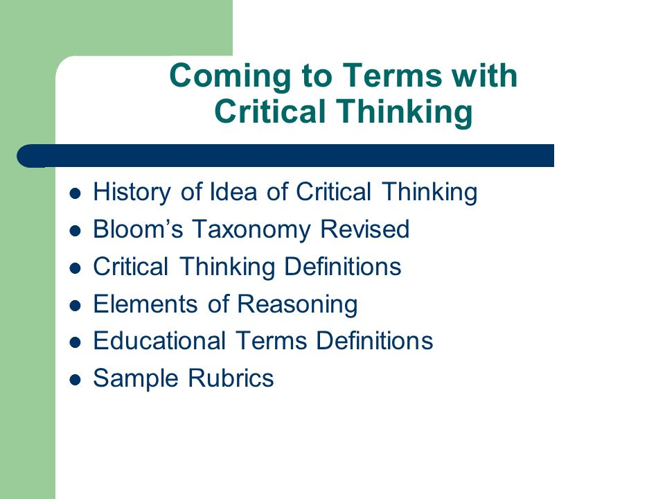 critical thinking terms