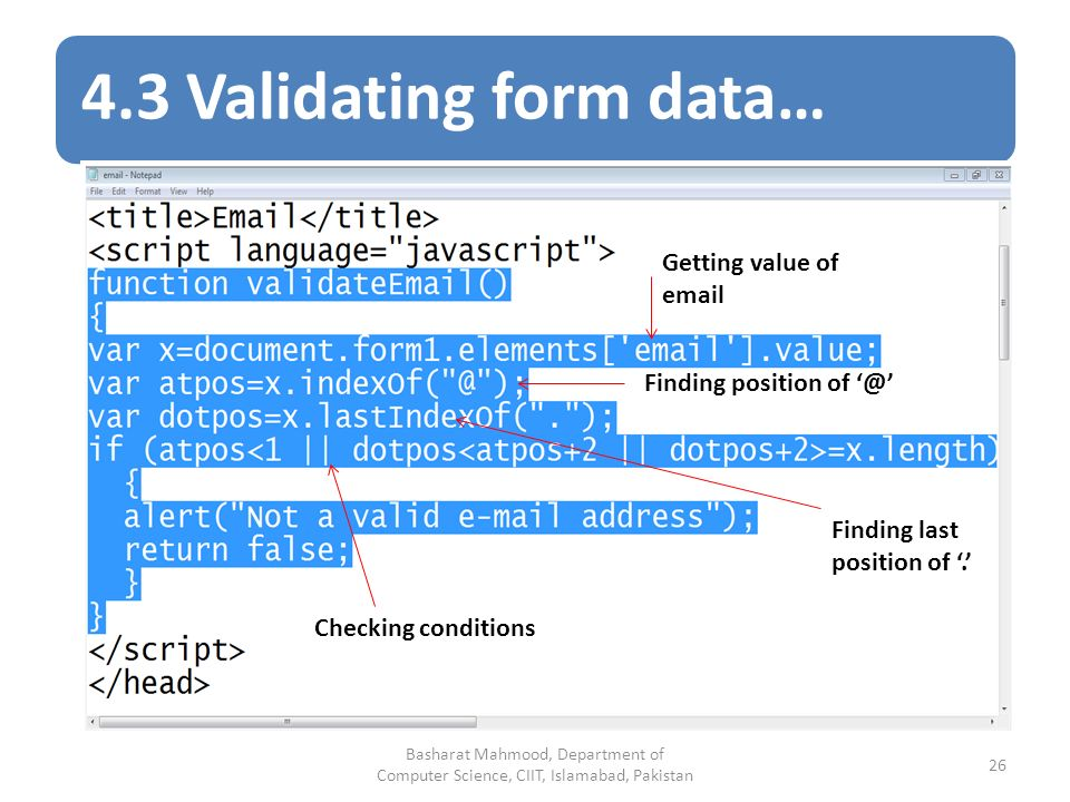 4.3 Validating form data… Getting value of  Finding position of Finding last position of '.' Checking conditions Basharat Mahmood, Department of Computer Science, CIIT, Islamabad, Pakistan 26