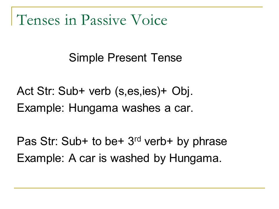 Tenses in Passive Voice Simple Present Tense Act Str: Sub+ verb (s,es,ies)+ Obj.
