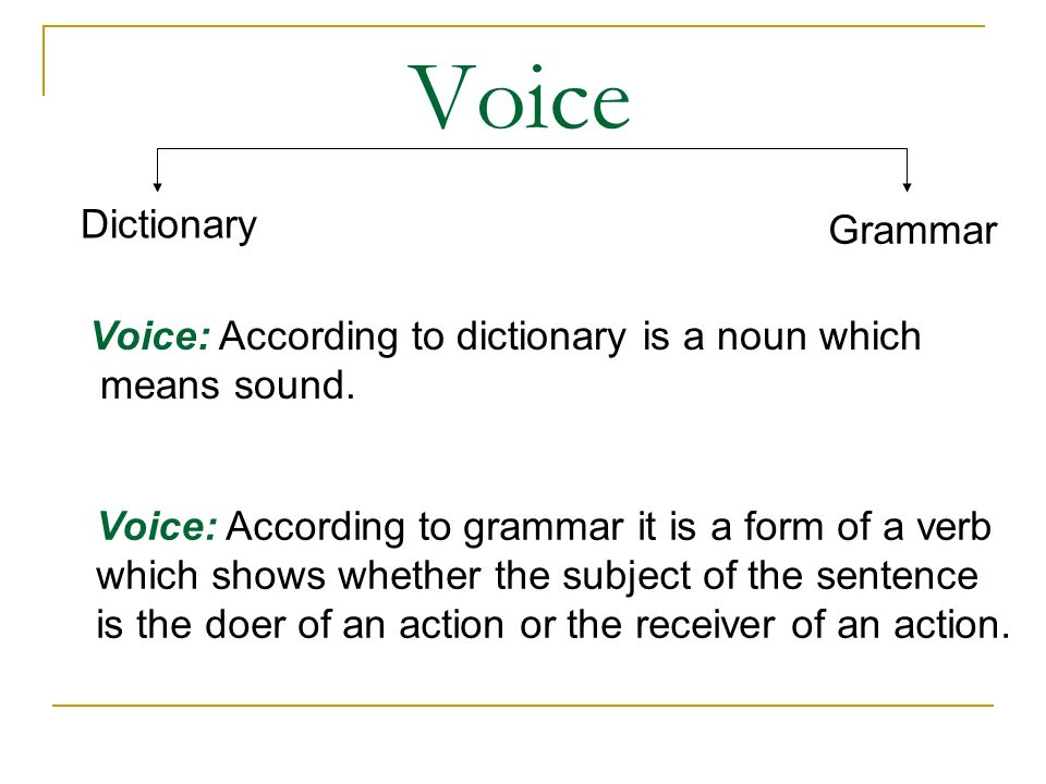 Voice Dictionary Grammar Voice: According to dictionary is a noun which means sound.