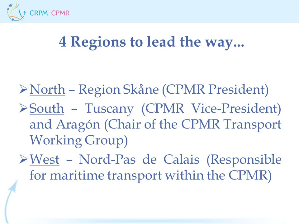 4 Regions to lead the way...