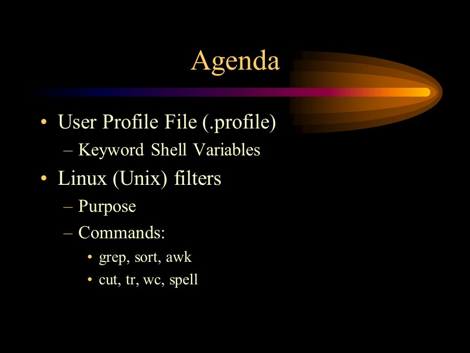 Agenda User Profile File (.profile) –Keyword Shell Variables Linux (Unix) filters –Purpose –Commands: grep, sort, awk cut, tr, wc, spell
