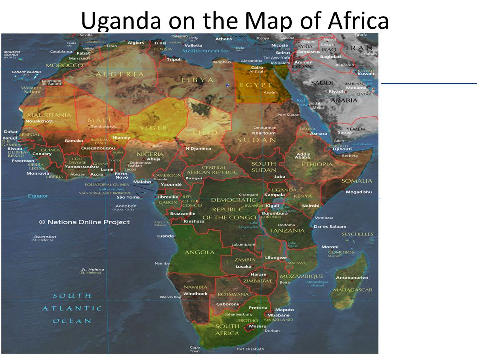 Uganda on the Map of Africa HomeHome Earth Continents Africa Small Map of Africa Map of Africa Map Index PageEarthContinentsAfricaSmall Map of Africa Map Index Page ___ Political Map of Africa - the African Countries.