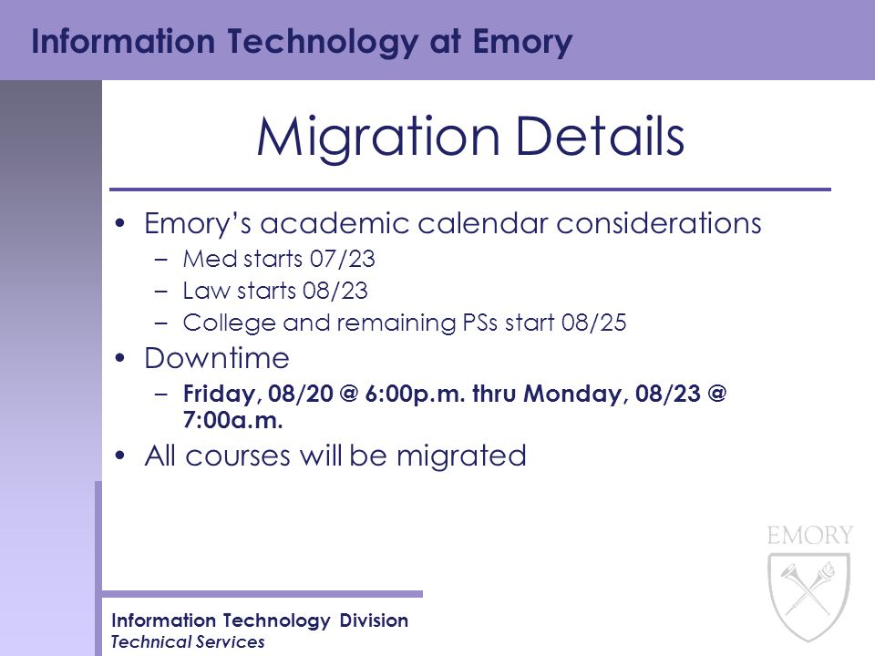 Emory Calendar.Information Technology At Emory Information Technology Division