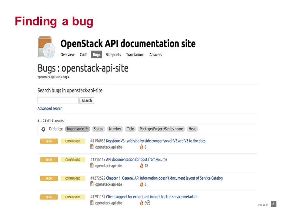 Go to https: bugs.launchpad.net –  : Installation, administration, configuration, and user guideshttps://bugs.launchpad.net/openstack-manuals –  : API Quick Start Guides and API referencehttps://bugs.launchpad.net/openstack-api-site For a comprehensive list of OpenStack content, see   Finding an OpenStack bug   4