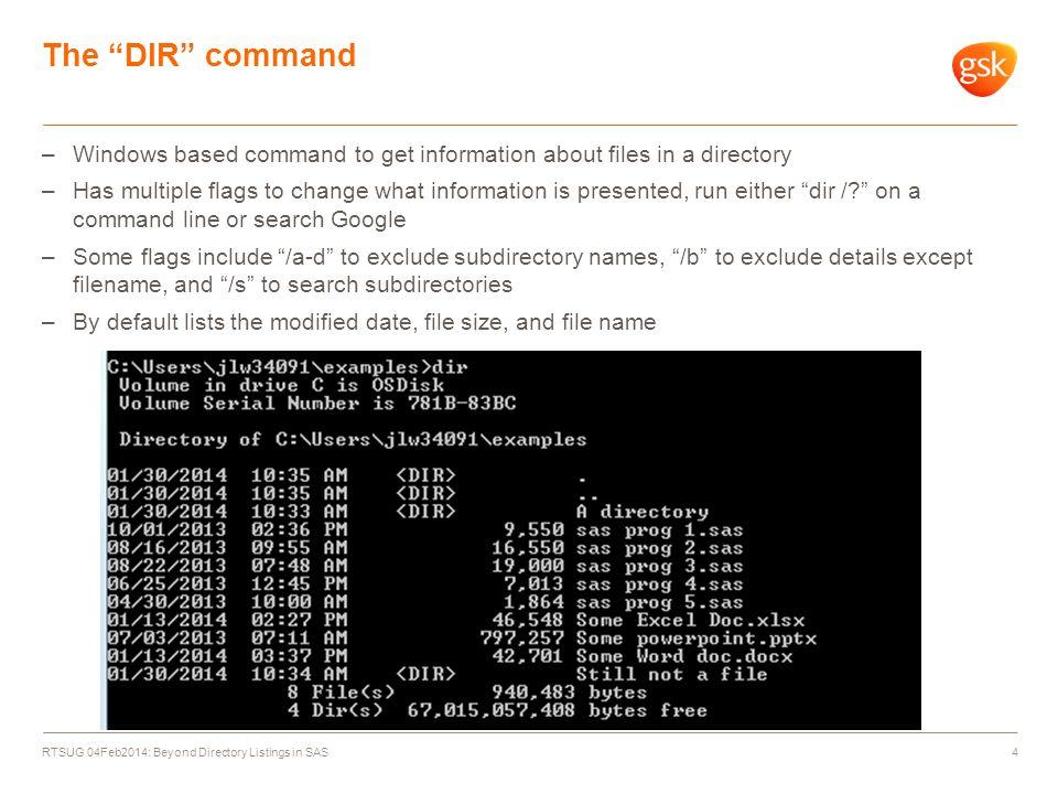 RTSUG 04Feb2014: Beyond Directory Listings in SAS By: Jim Worley