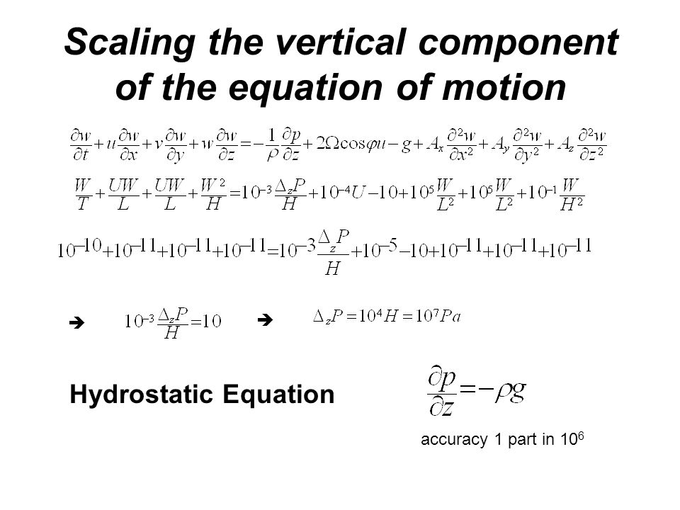 Scaling the vertical component of the equation of motion   Hydrostatic Equation accuracy 1 part in 10 6