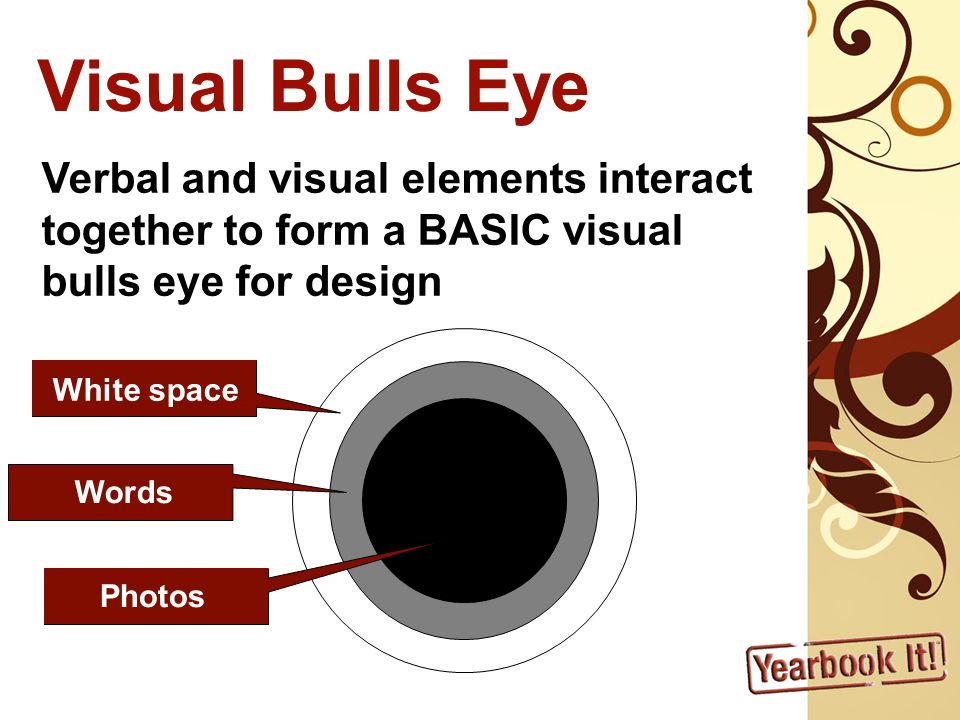 Visual Bulls Eye Verbal and visual elements interact together to form a BASIC visual bulls eye for design White space Words Photos