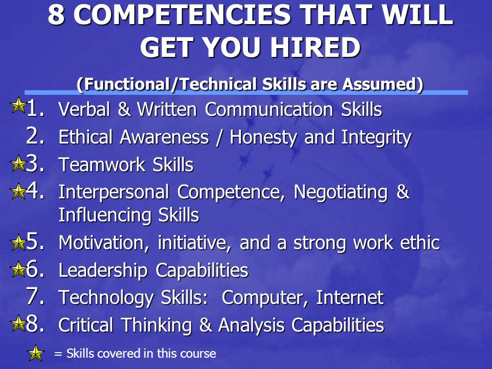 8 COMPETENCIES THAT WILL GET YOU HIRED (Functional/Technical Skills are Assumed) 1.