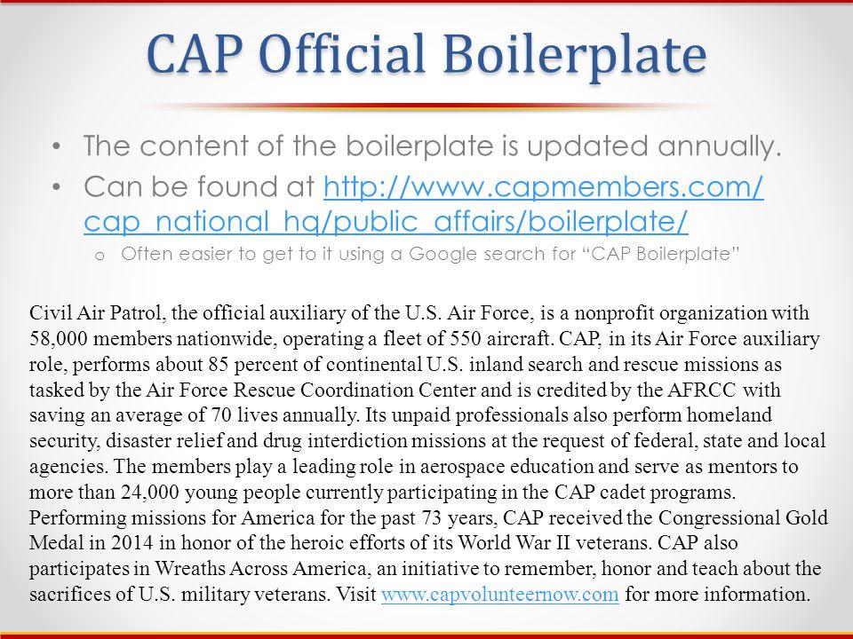 5 CAP Official Boilerplate ...