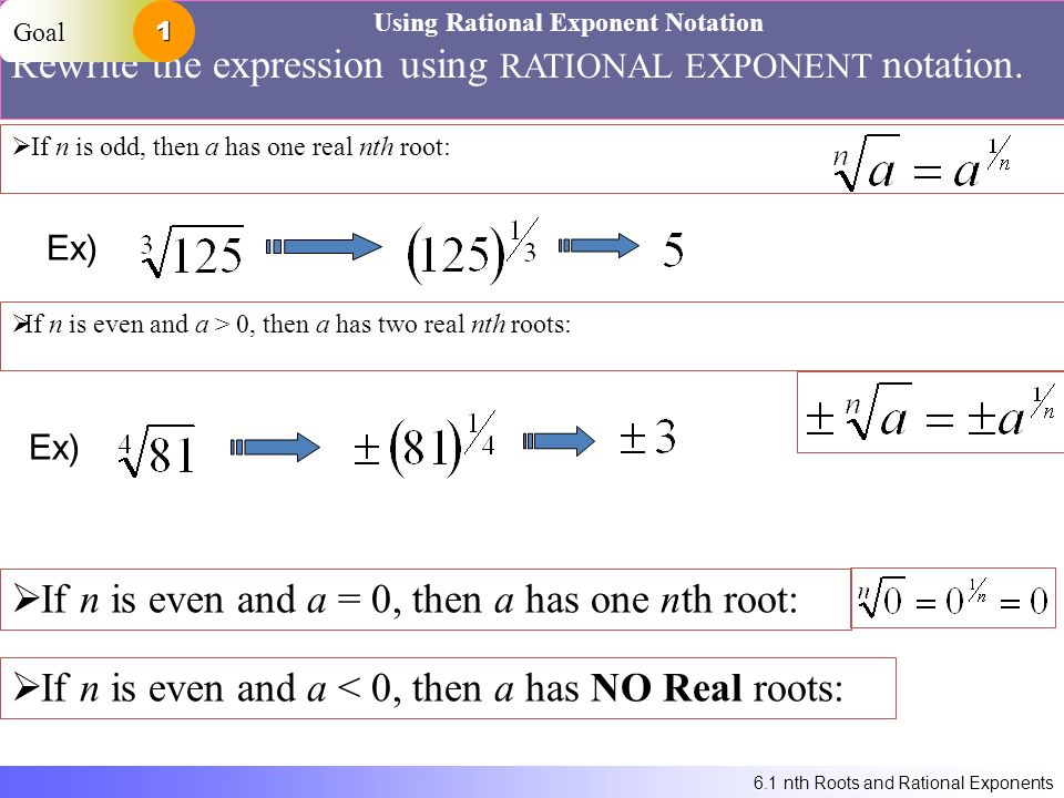6.1 nth Roots and Rational Exponents Using Rational Exponent Notation Rewrite the expression using RATIONAL EXPONENT notation.