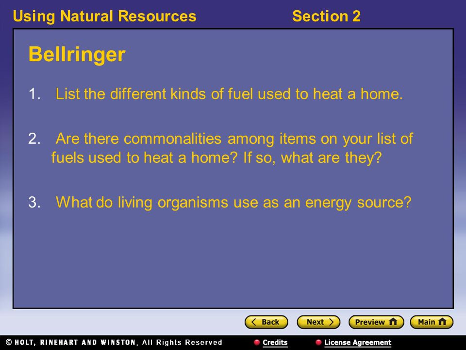 Using Natural ResourcesSection 2 Bellringer 1.