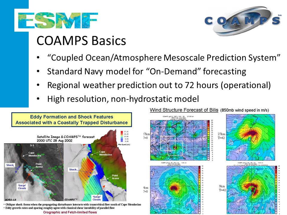 COAMPS Basics Coupled Ocean/Atmosphere Mesoscale Prediction System Standard Navy model for On-Demand forecasting Regional weather prediction out to 72 hours (operational) High resolution, non-hydrostatic model