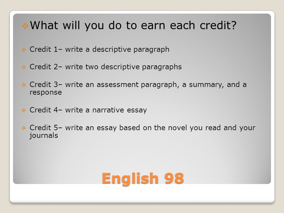 English 98  What will you do to earn each credit.