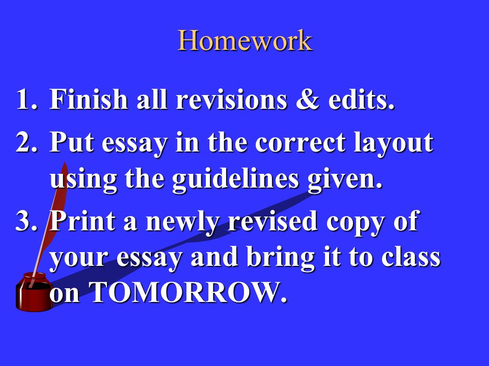 Homework 1.Finish all revisions & edits.