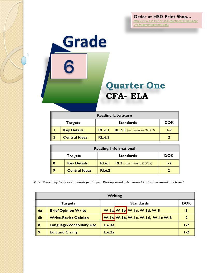 Quarter E CFA ELA Quarter E CFA ELA Grade Order At HSD Print