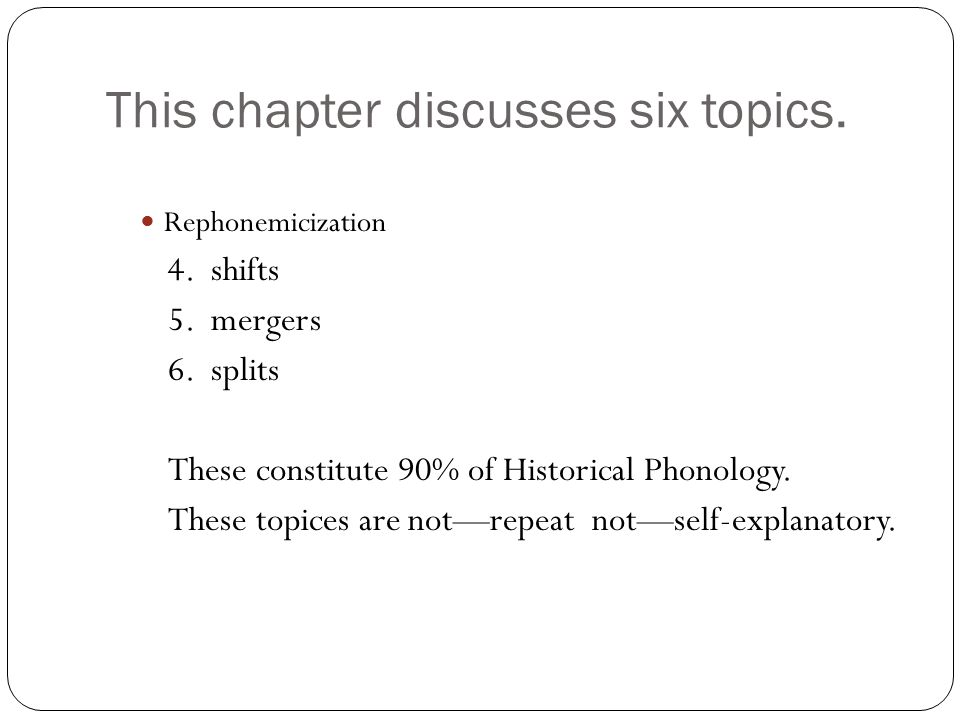 This chapter discusses six topics. Rephonemicization 4.