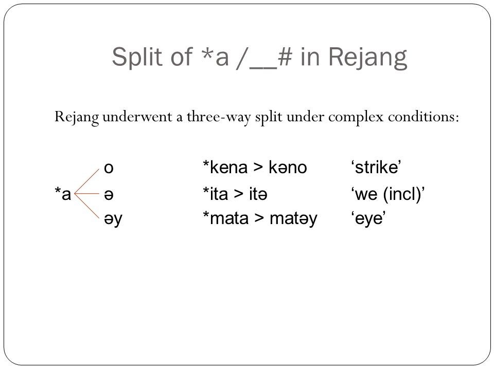 Split of *a /__# in Rejang Rejang underwent a three-way split under complex conditions: o*kena > kəno'strike' *a ə*ita > itə'we (incl)' əy*mata > matəy'eye'