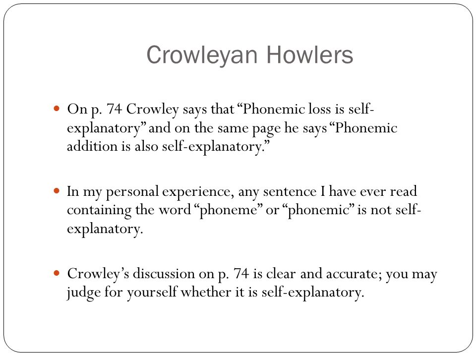 Crowleyan Howlers On p.