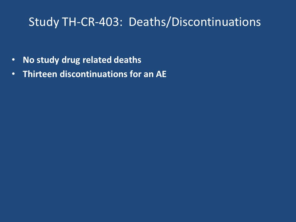 Study TH-CR-403: Deaths/Discontinuations No study drug related deaths Thirteen discontinuations for an AE