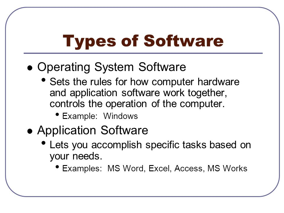 A computer contains two major sets of tools, software and hardware.