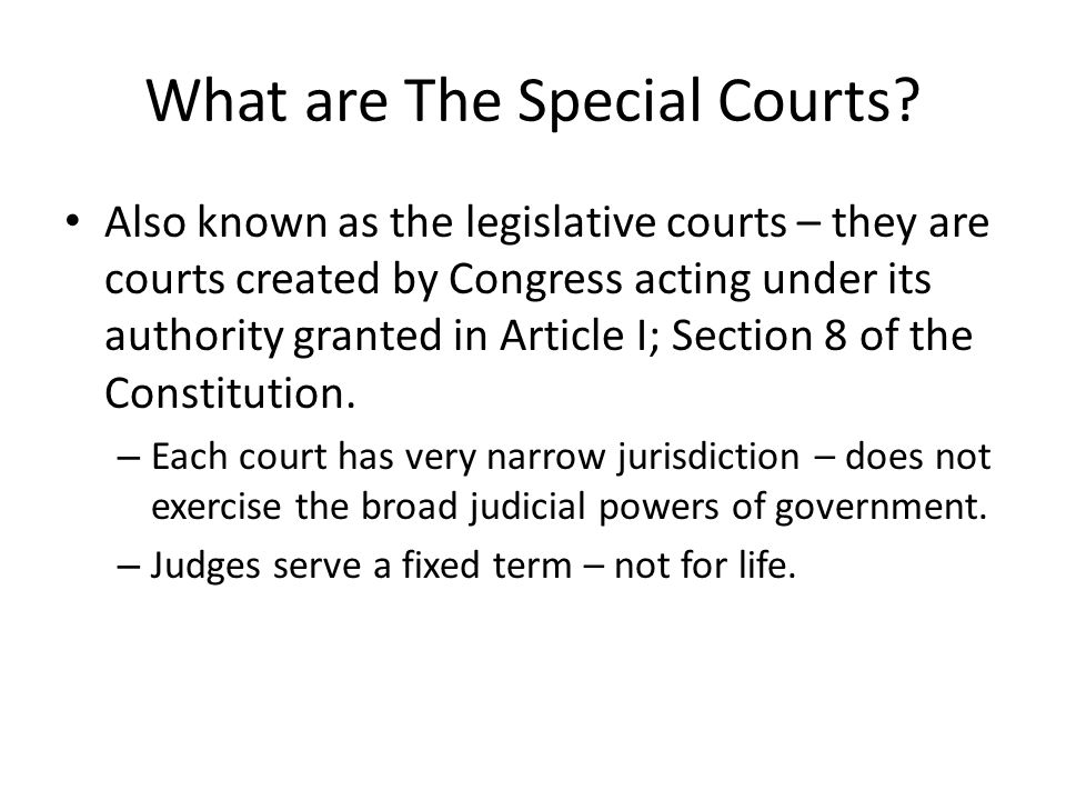 What are The Special Courts.