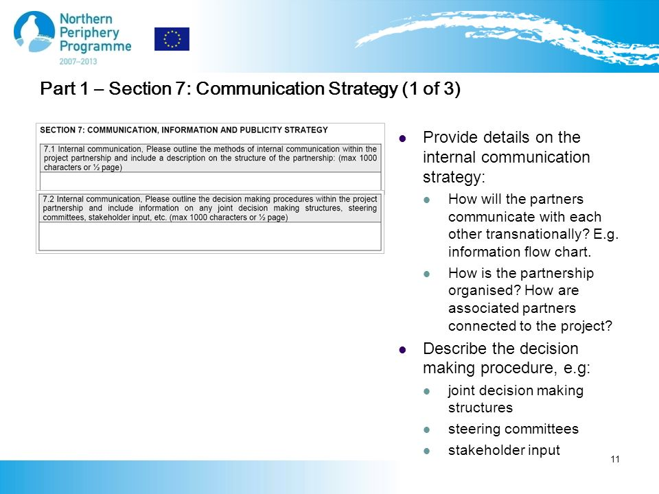 Part 1 – Section 7: Communication Strategy (1 of 3) Provide details on the internal communication strategy: How will the partners communicate with each other transnationally.