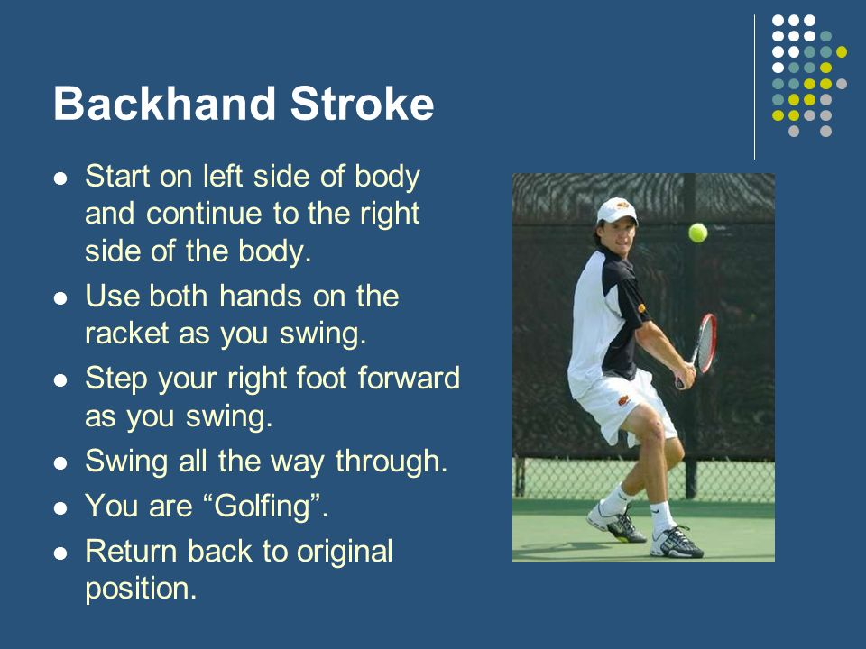 Backhand Stroke Start on left side of body and continue to the right side of the body.