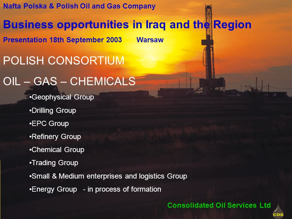 POLISH CONSORTIUM OIL – GAS – CHEMICALS Geophysical Group Drilling