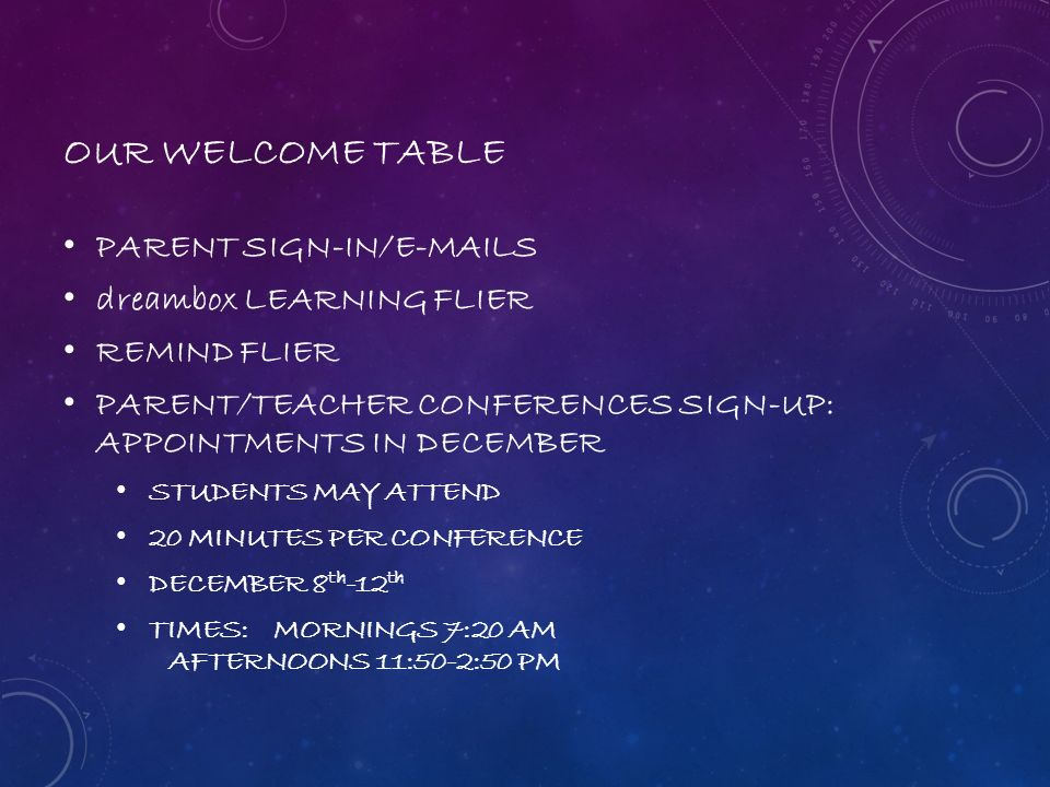 OUR WELCOME TABLE PARENT SIGN-IN/ S dreambox LEARNING FLIER
