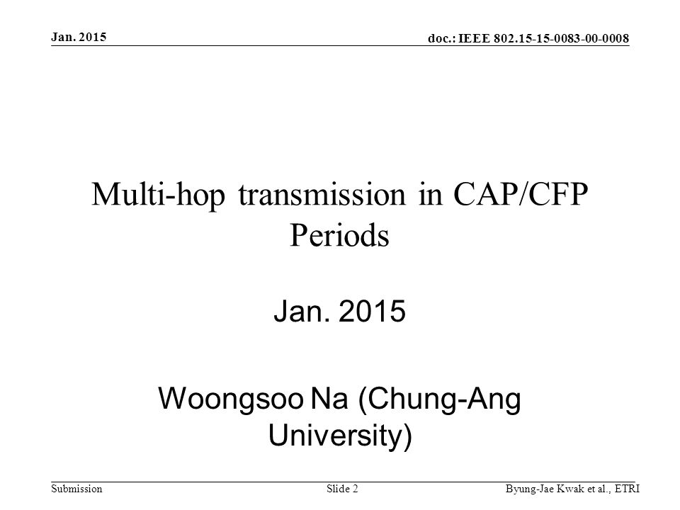 doc.: IEEE Submission Multi-hop transmission in CAP/CFP Periods Jan.