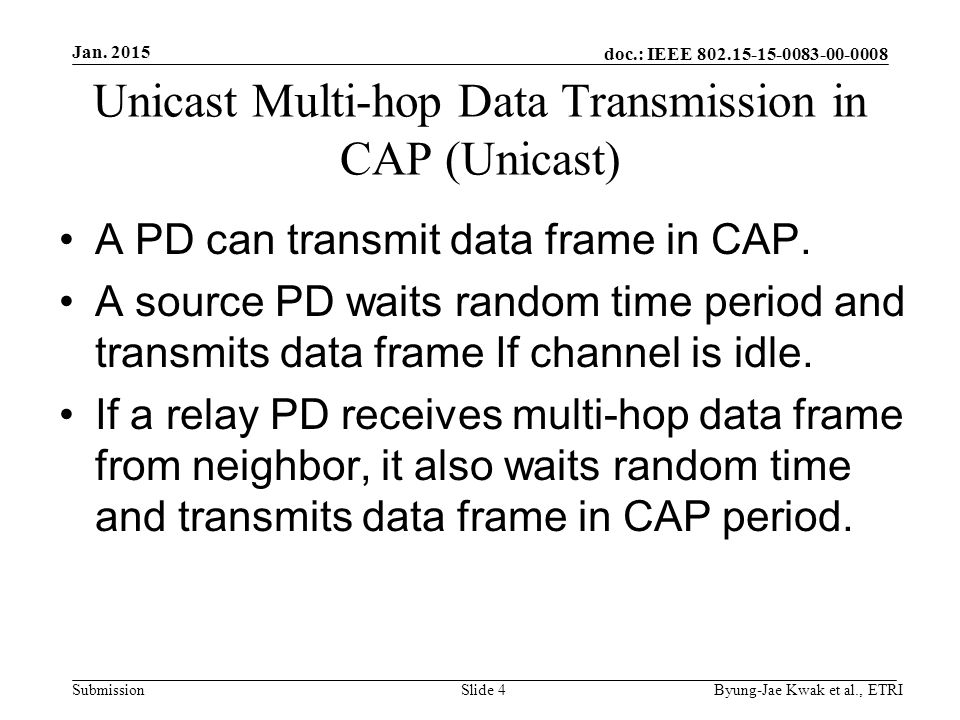 doc.: IEEE Submission Unicast Multi-hop Data Transmission in CAP (Unicast) A PD can transmit data frame in CAP.