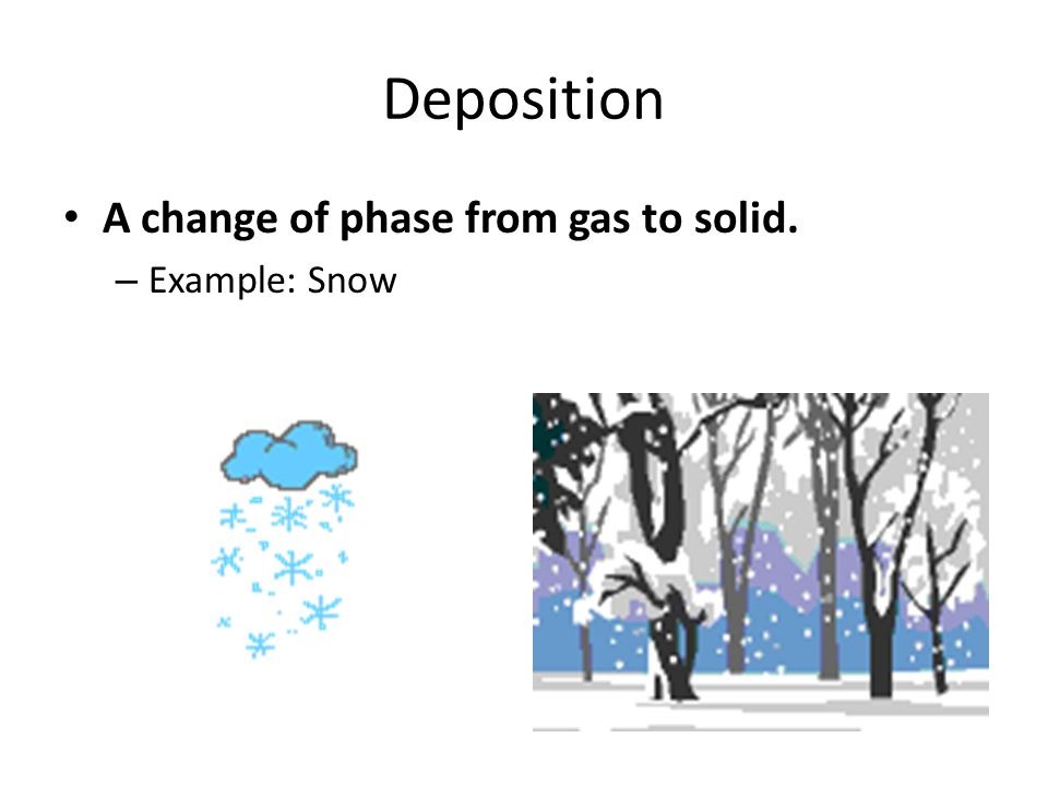 22 deposition a change of phase from gas to solid example snow