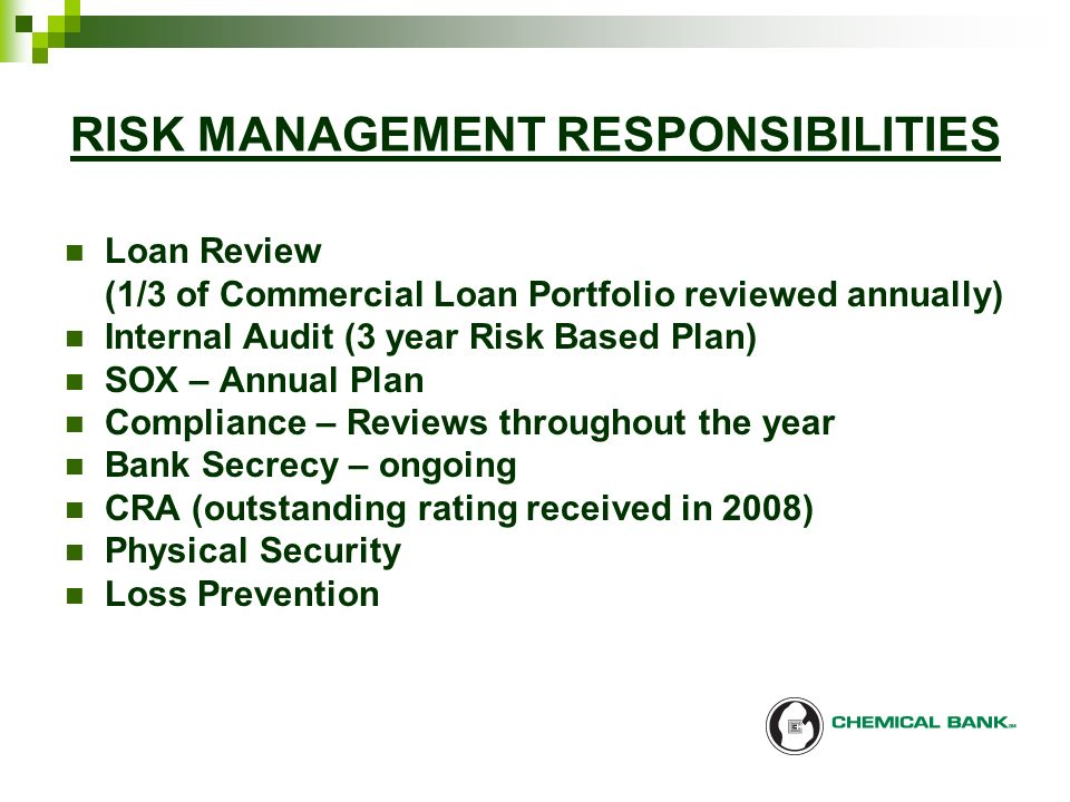 4 Risk Management Responsibilities Loan Review 1 3 Of Commercial Portfolio Reviewed Annually Internal Audit Year Based Plan Sox Annual