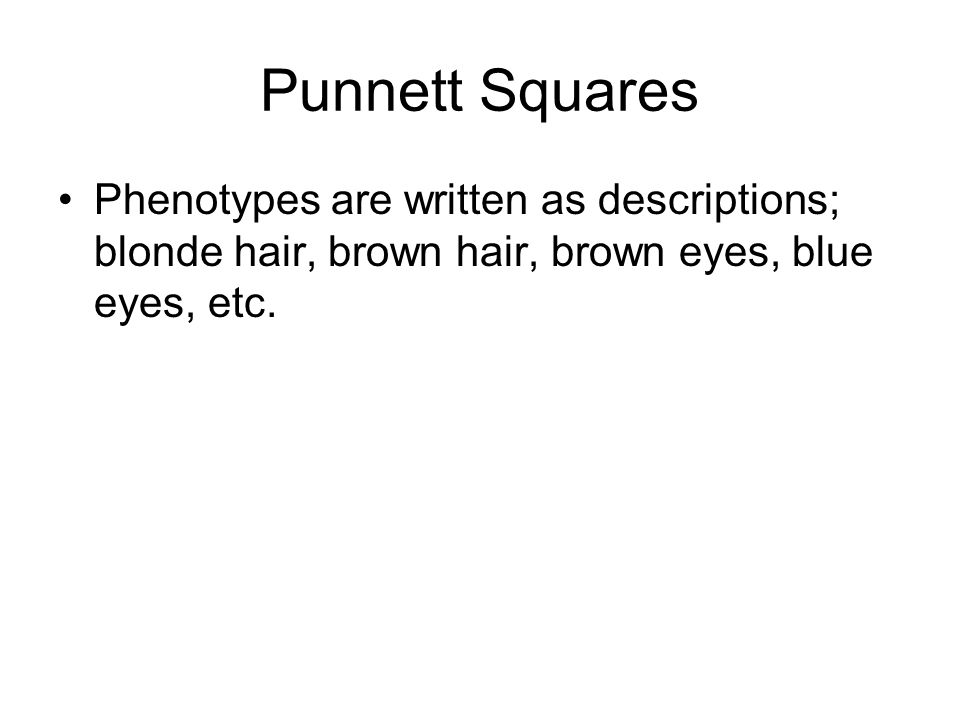 Phenotypes are written as descriptions; blonde hair, brown hair, brown eyes, blue eyes, etc.