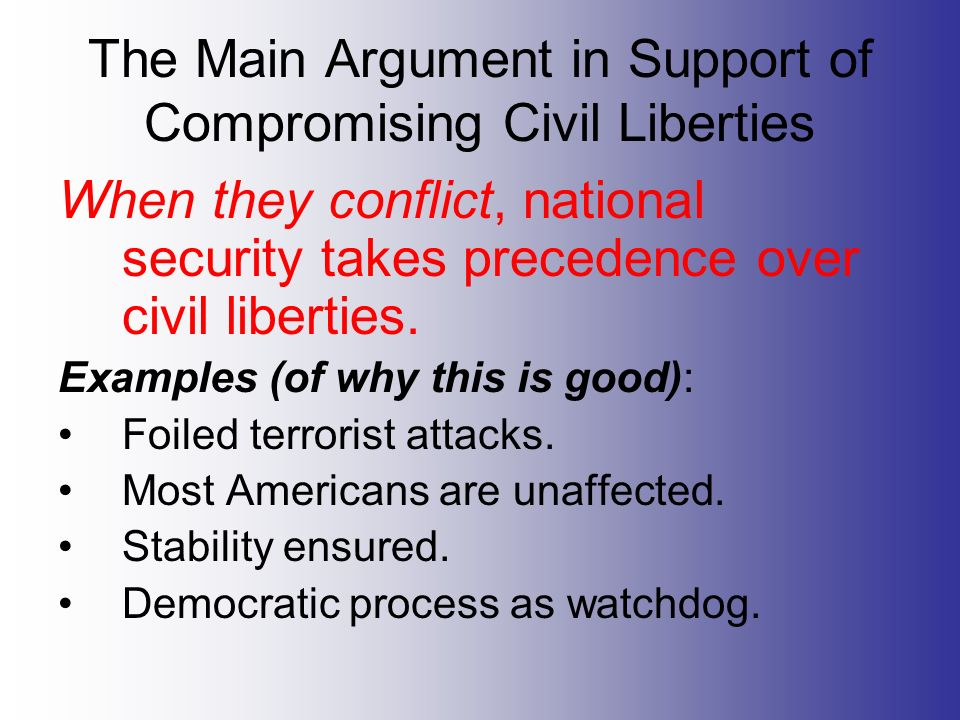 terrorism and civil liberties essay View essay - civil libertiesdocx from government govt 220 at liberty university find study resources main menu  americans understand the need to be vigilant against terrorism, but they also want to preserve the civil liberties and investigative safeguards that make america a free nation.