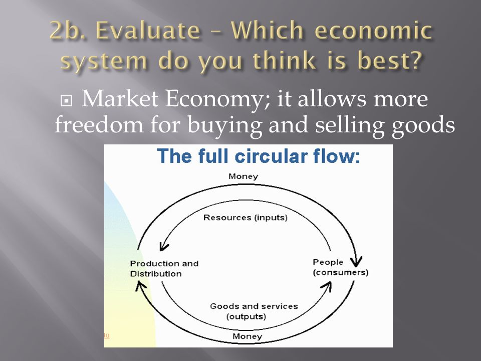  Market Economy; it allows more freedom for buying and selling goods