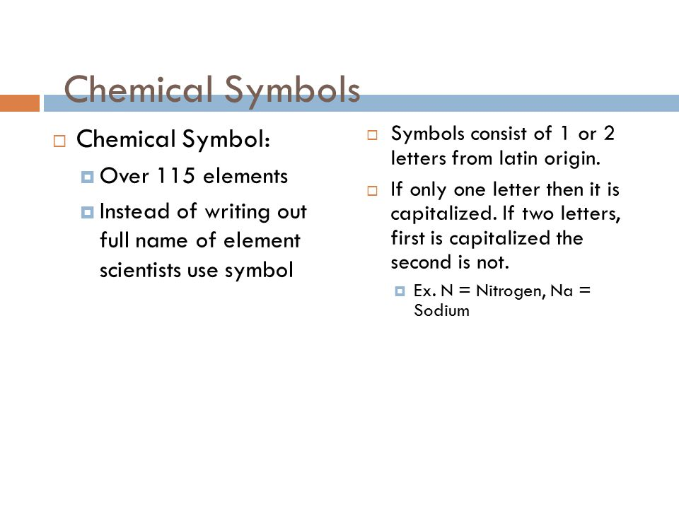 Elements chemical symbols and the periodic table ppt download 2 chemical symbols chemical symbol over 115 elements instead of writing out full name of element scientists use symbol symbols consist of 1 or urtaz Image collections