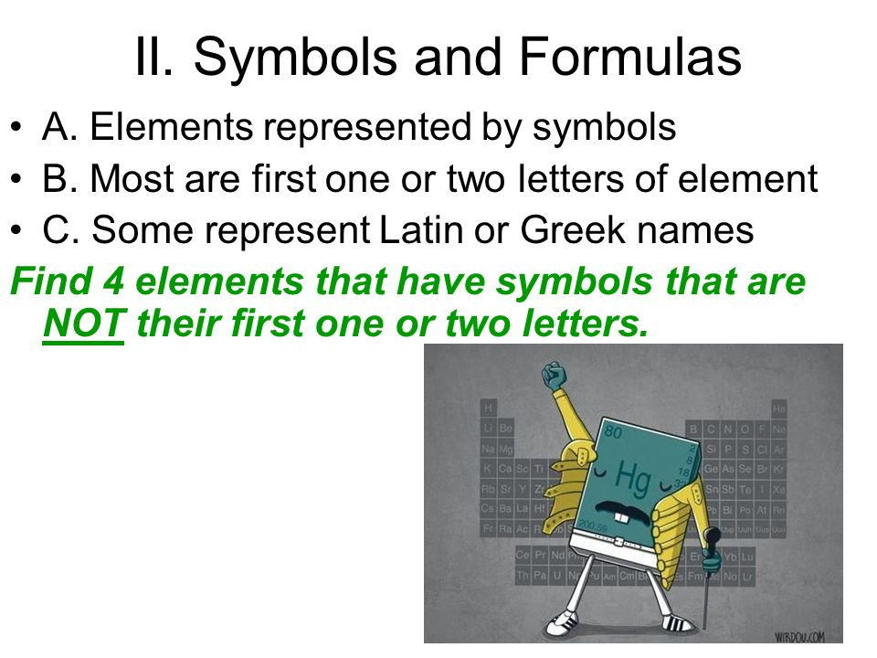 II. Symbols and Formulas A. Elements represented by symbols B.