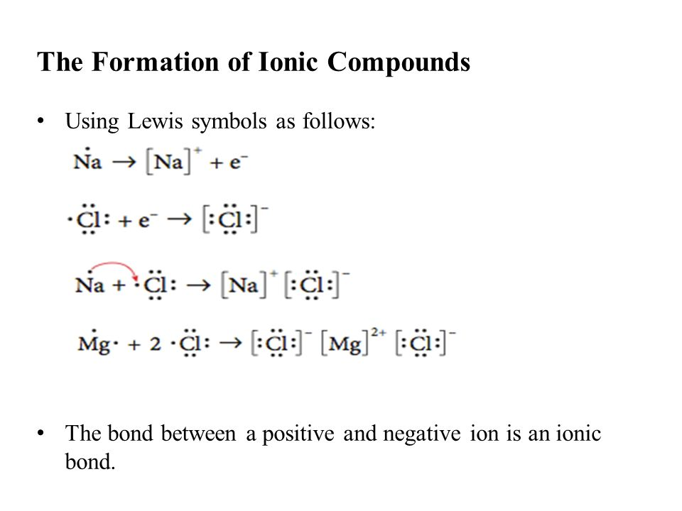 The Formation of Ionic Compounds Using Lewis symbols as follows: The bond between a positive and negative ion is an ionic bond.